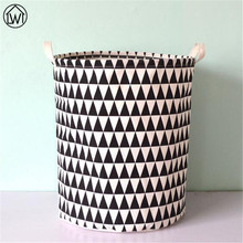 Scandinavian 40X50cm Canvas Fabric Foldable Storage Basket Black Geometric Pattern Kids Toy Storage Basket Laundry Basket Zakka