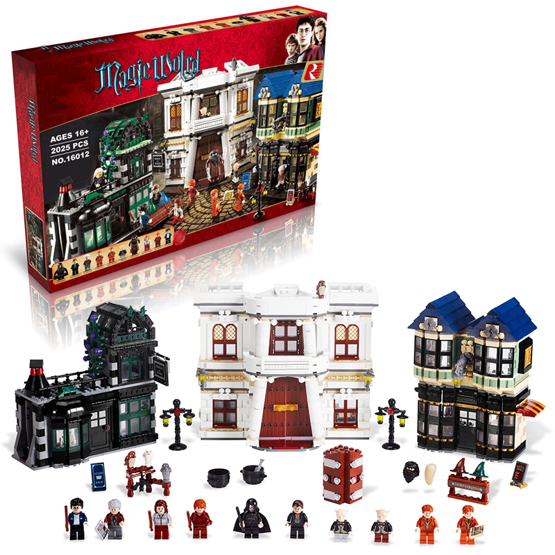 Lepin 16012 Diagon Alley building bricks blocks Toys for children boys Game Model Car Gift Compatible with Bela Decool 10217 lepin 02005 volcano exploration base building bricks toys for children game model car gift compatible with decool 60124