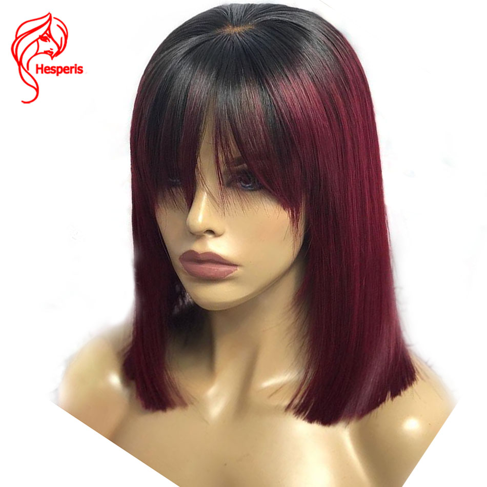 Hesperis Red Human Hair Wig With Bang Brazilian Remy Hair Ombre Lace Front Wig With Baby