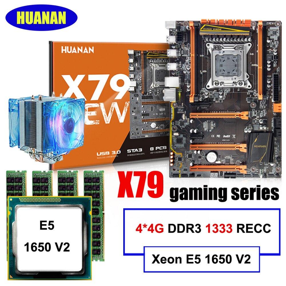 Marque carte mère en vente HUANAN ZHI X79 carte mère avec M.2 slot CPU Intel Xeon E5 1650 V2 avec cooler RAM 16g (4*4g) REG ECC