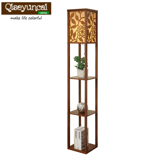 Simple Modern Chinese Carved Living Room Floor Lamp Bedroom Bedside Lamp  Sofa Lamp Storage Personality Creative