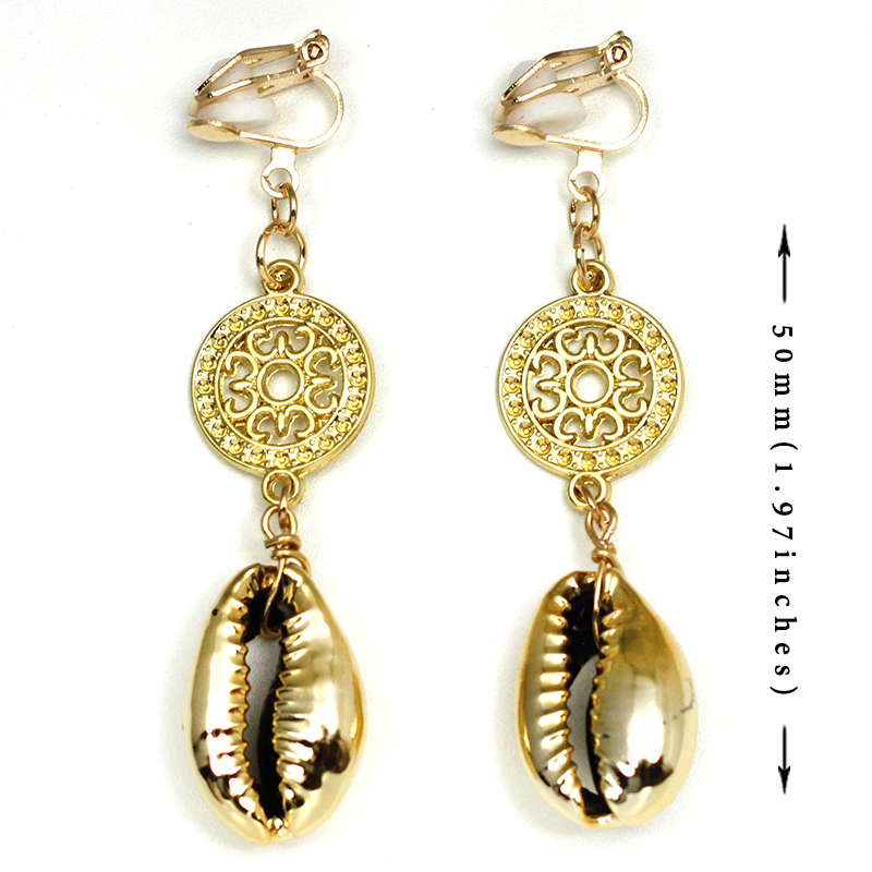 Seashell Clip On Earring No Hole Ear Clips Hollow Metal Cowrie Shell Earrings Without Piercing Simple Women Earring CE354 in Clip Earrings from Jewelry Accessories