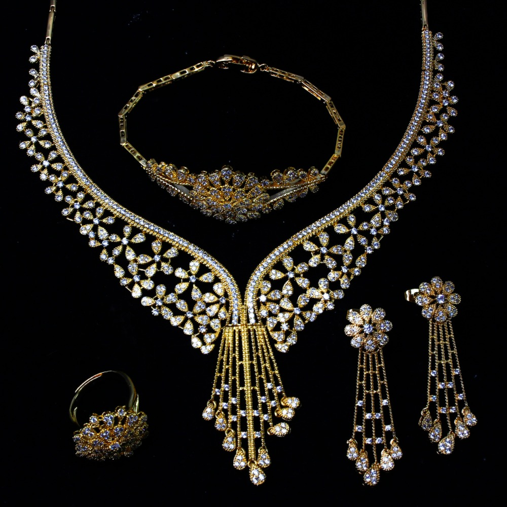 Women Bridal 4pcs Sets African Wedding Jewelry Cubic Zircon Fashion Dubai Gold Color Costume Design Necklace In From