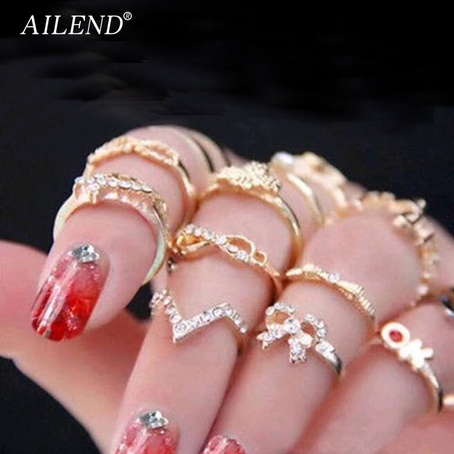 AILEND 2018 New 1 Set 7 pcs Women's Rhinestone Bowknot Knuckle Midi Mid Finger T