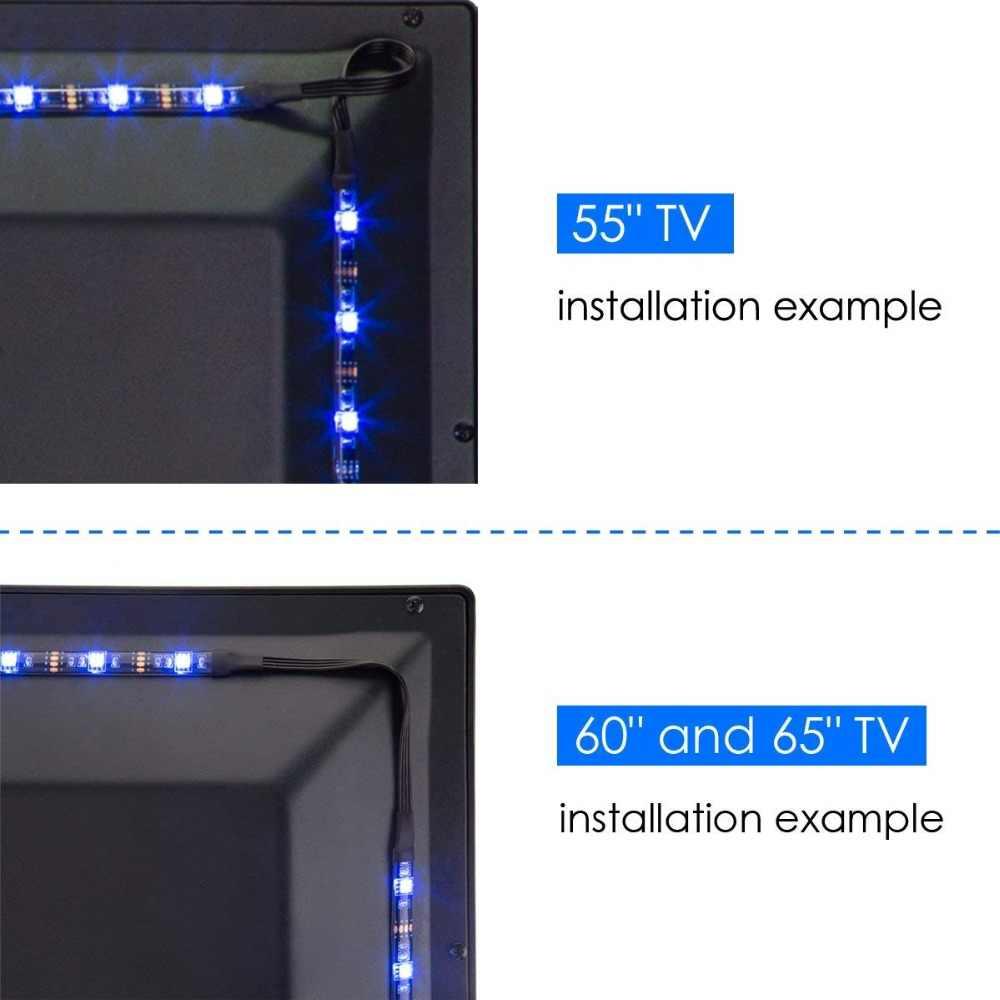 TV LED Lampu Latar, unibrothe USB LED Strip Lampu Kit Disesuaikan untuk TV 55 60 65 Inch Monitor Bias Lampu RGB Lampu Strip 12.6ft