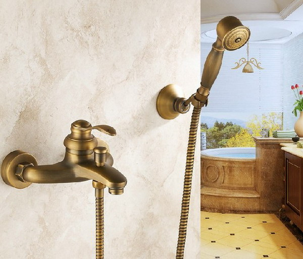 Antique Brass Wall Mounted Bathroom Single Handle Bathtub Faucet Tap Hand Held Shower set With Wall bracket &1.5m Hose atf028Antique Brass Wall Mounted Bathroom Single Handle Bathtub Faucet Tap Hand Held Shower set With Wall bracket &1.5m Hose atf028