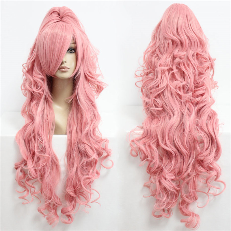 90cm Long Curly Pink Ponytail Cosplay Wig Vocaloid 35