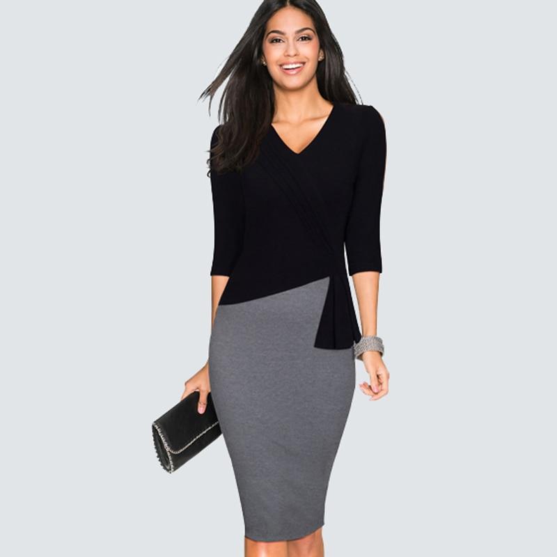 Casual Wear To Work Sheath Slim Bodycon Office Lady Dress Spring Autumn Women Elegant V Neck Patchwork Pencil Dress HB333