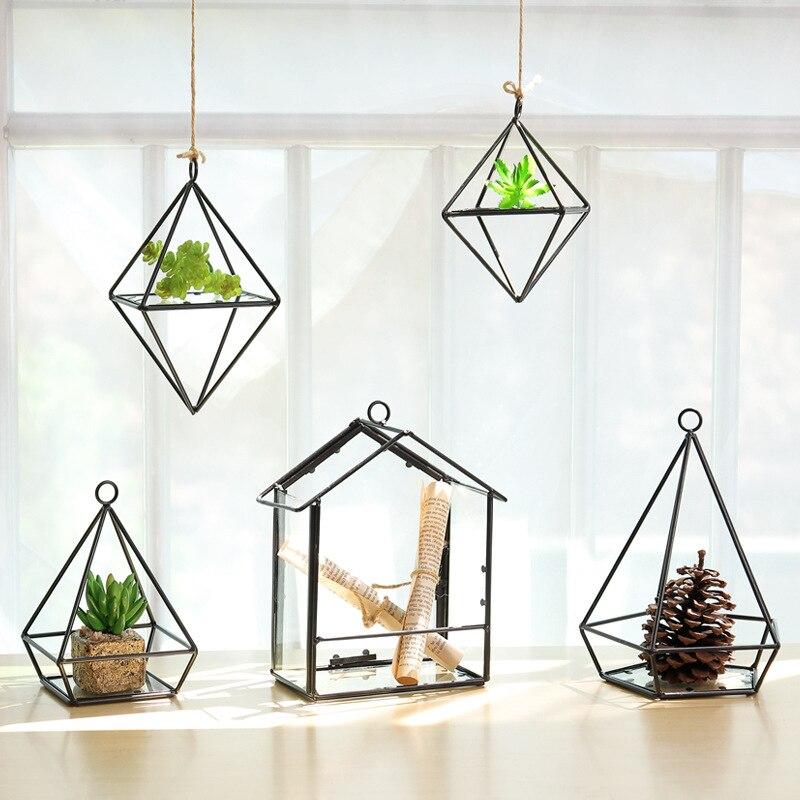 Modern Simple Iron&Glass Storage Rack Crafts Hanging