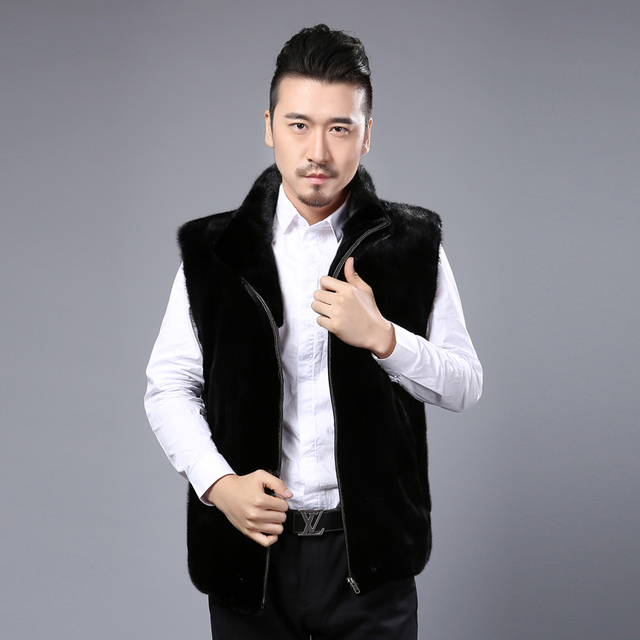 Men's fur mink vest waistcoat black hiker loose mandarin collar zippers solid casual coat