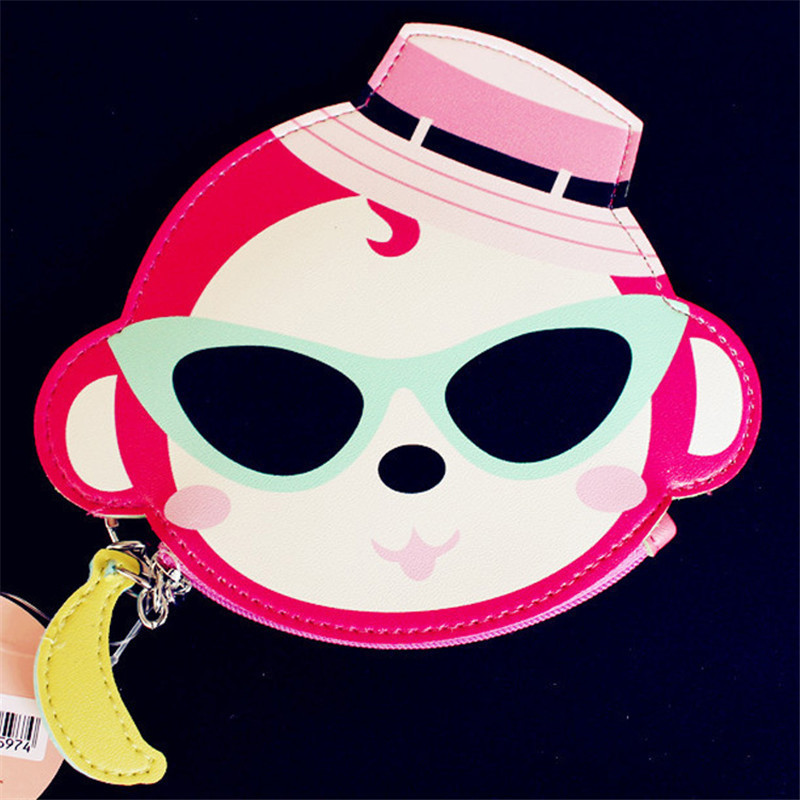 Lovely animals Prints Coin Purse Cartoon Bear Elephant Monkey Panda Pig Girls Key Case Wallet Children Headset Bag Coin Packet