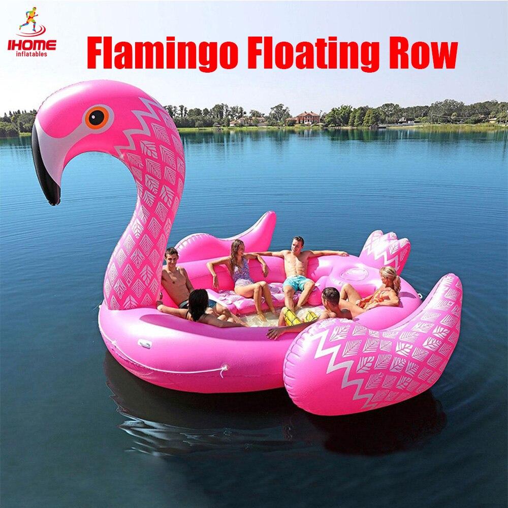 Couleur Imprimé Géant Flamingo Piscine Flotteur pour 6-8persons