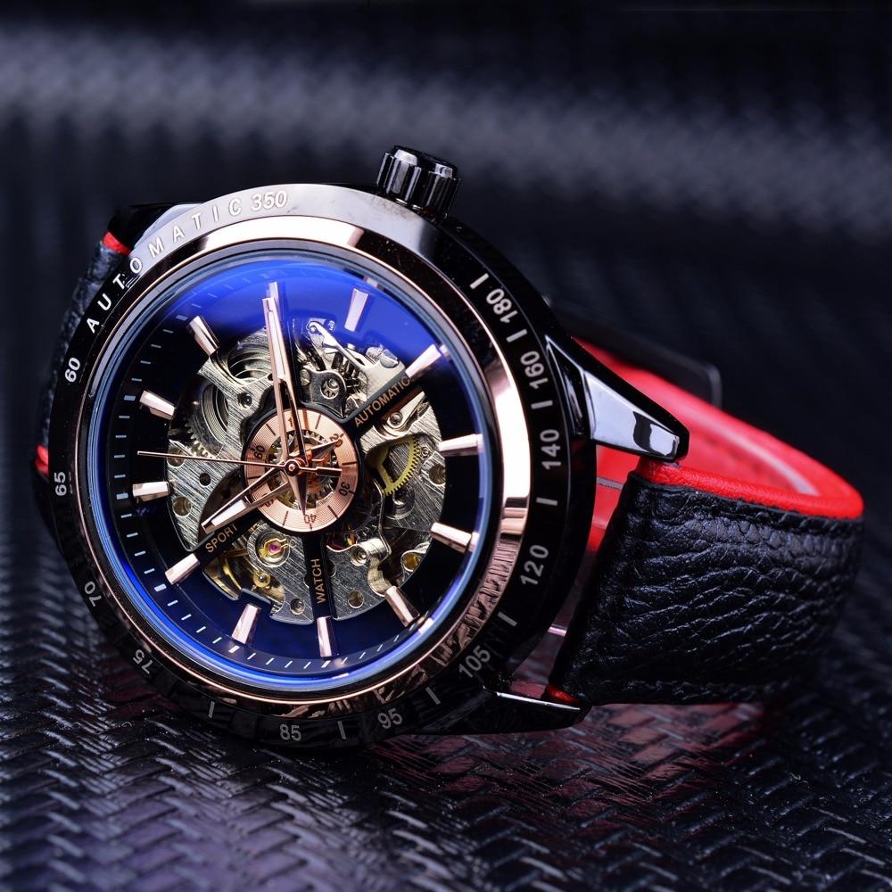 Forsining Motorcycle Design Transparent Genuine Red Black Belt Waterproof Skeleton Men Automatic Watches Top Brand Luxury Clock 1