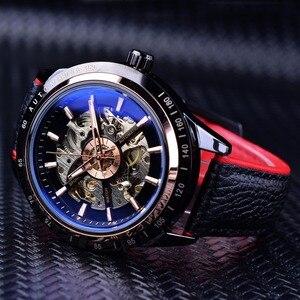 Image 3 - Forsining montre automatique pour hommes, conception de moto, ceinture noire authentique, étanche, squelette, marque de luxe, horloge mécanique