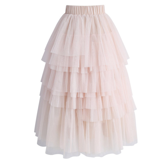 5abaa044f5 Saia Faldas 2017 Pearl Pink Tiered Tulle Skirts Elastic Style Custom Made  Plus Size Ankle Length Tulle Skirt For Women Ruffles