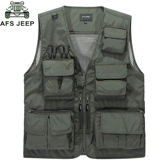 Afs Jeep 2016 Summer Vest Men Casual Light Thin Mesh Multi-pockets Vest Male Loose chaleco hombre Brand Mens Vest Mens Waistcoat