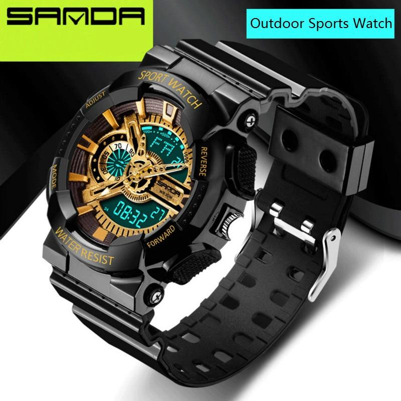 2016 Nueva Marca SANDA relojes para hombre LED Digital-reloj G estilo impermeable Deportes Militares relojes del choque para los hombres relojes hombre