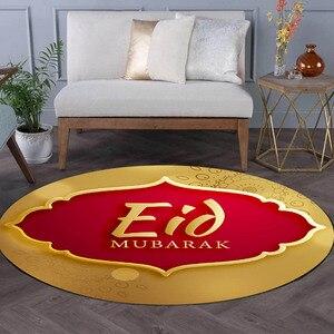 Image 2 - 80CM musulman Eid moubarak tapis 3D imprimé anti dérapant tapis de sol tapis islamique arabe Ramadan boussole tapis de prière Eid fête fournitures