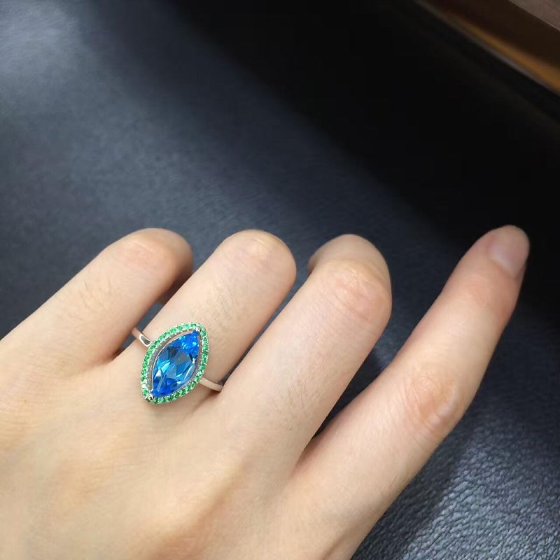 Anillos Qi Xuan_Blue Stone Fashion Jewelry Rings_Finger Rings_S925 Solid Silver Fashion Blue Ring_Manufacturer Directly Sales 2017 anillos jewelry qi xuan