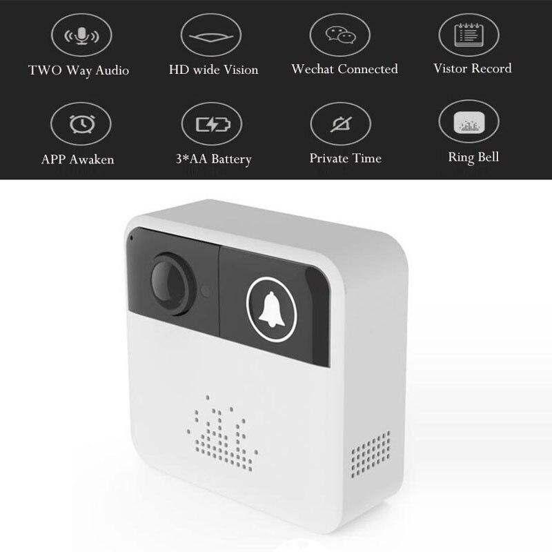 WIFI sonnette interphone caméra 720HD IOS Android APP connecter visiteur Visible deux voies Audio batterie puissance