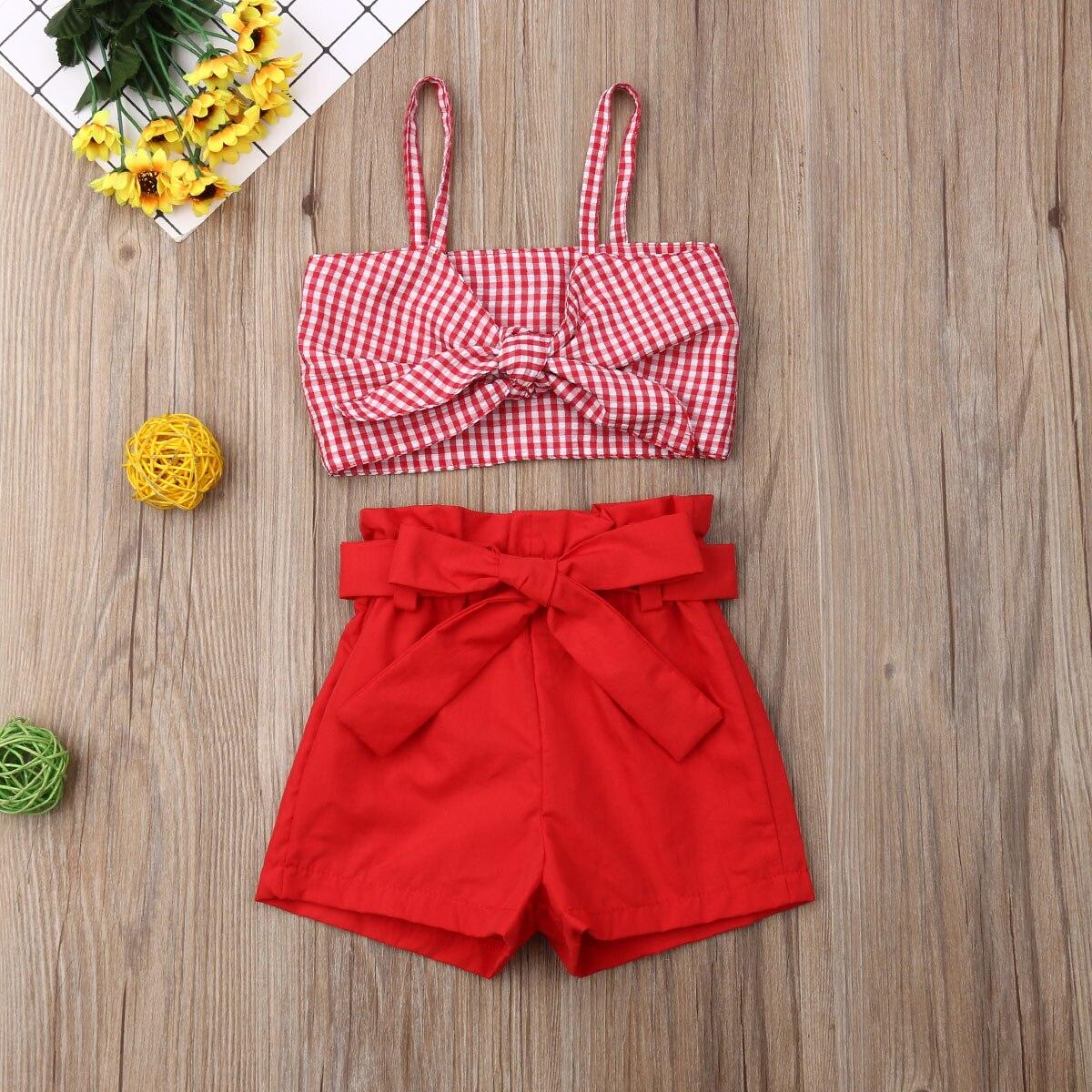 Pudcoco moda más reciente ropa de bebé para niñas pequeñas con lazo y Plaids Correa Crop blusas pantalones cortos 2 uds. Trajes ropa de verano