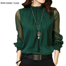 Women Blouses 2017 Autumn Long Sleeve Chiffon Blouse Women's Clothing 5 Colors Solid Sexy Mesh Women Shirt