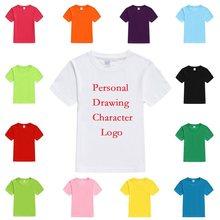 0240bf3ed Camisetas lisas personalizadas para niños verano sólido puro 2-14 años  Camisetas con estampado Personal para niños cumpleaños re.