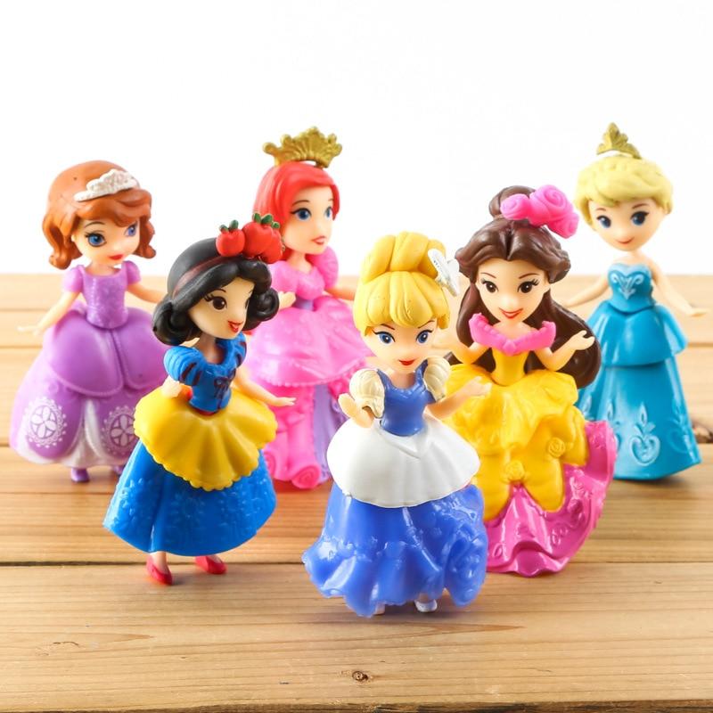 Disney Princess Toys 6 Pcs/set 9cm Cute Cartoon Anime Princess Action Figures Elsa Snow White Dolls Models Juguetes Fragrant Flavor In