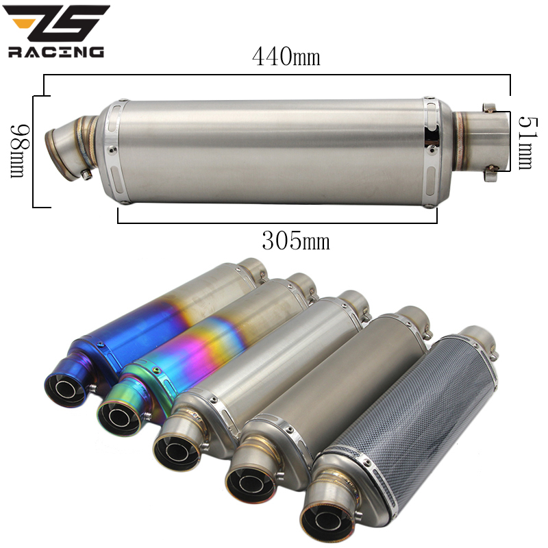 ZS Racing 440MM Modified Motorcycle Exhaust Pipe Muffler CB400 600 Z750 Z800 530 MT07 GY6 Motorbike Muffler Silencer Escape Moto modified akrapovic exhaust escape moto silencer 100cc 125cc 150cc gy6 scooter motorcycle cbr jog rsz dirt pit bike accessories