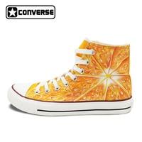 Custom Design Frutta Tangerine Carne Originale Dipinto A Mano Scarpe Uomo Donna Converse Chuck Taylor Canvas Sneakers High Top