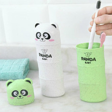BF040 Creative cartoon travel portable toothbrush cup suitr cute panda design storage box 19.5cm*7cm