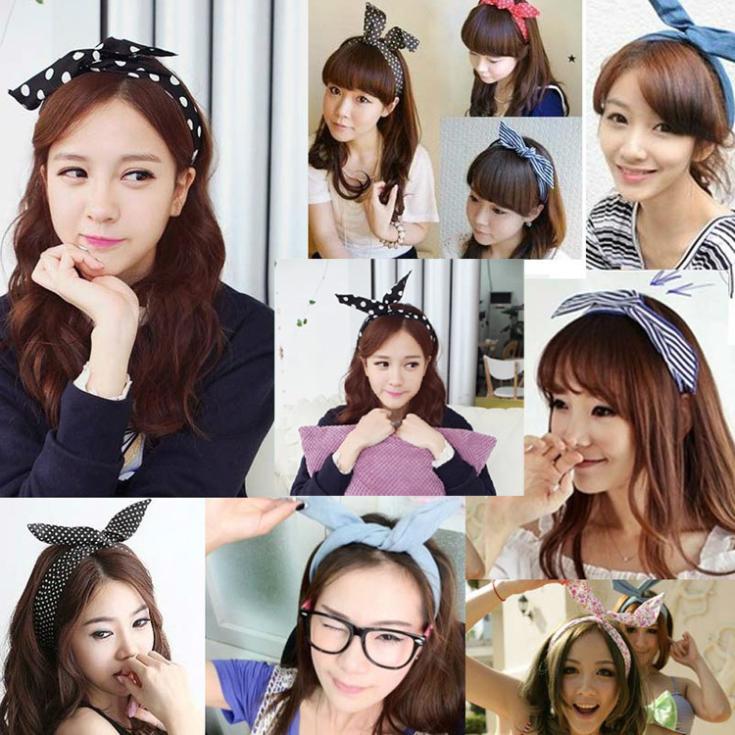 Giraffita 1Pcs Cute Korean Dots Bunny Rabbit Ear Ribbon   Headwear   Hairband Metal Wire Scarf Headband Hair Band Accessories