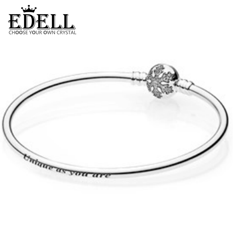 EDELL Love Snake Chain Silver Color Fit Original Charm Bracelet Bangle Charm Bead For Women Gift Free Package Mail