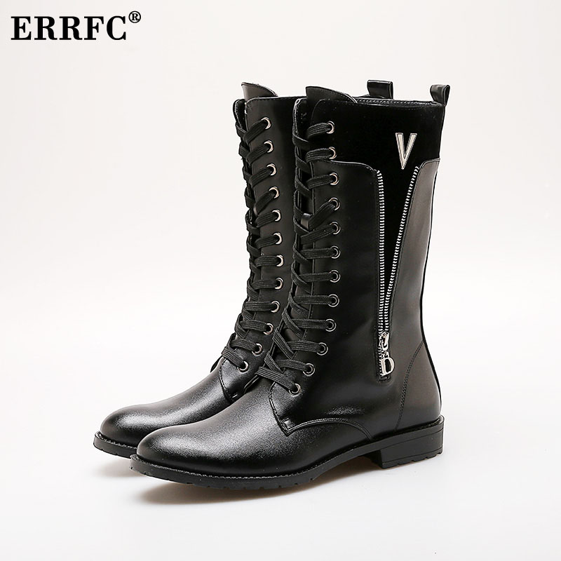 ERRFC Hot Selling Mens High Top Long Boots Fashion Zipper Lacing Knee High Motorcycle Boots Simple