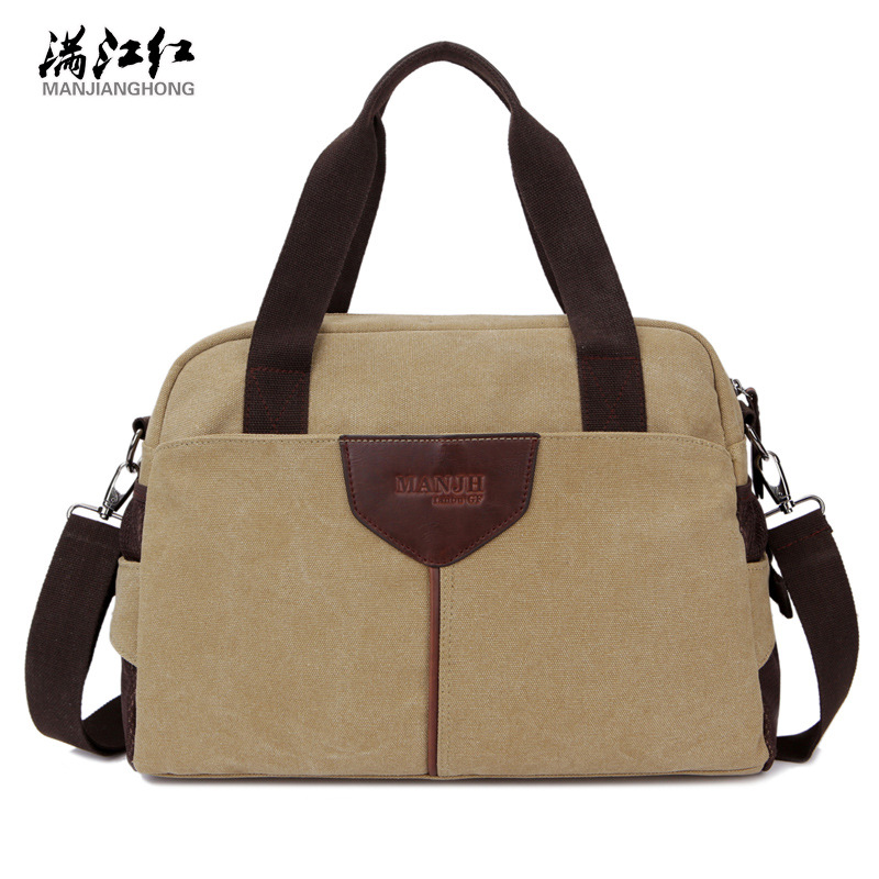 MANJIANGHONG high quality canvas men handbag casual college student laptop bag travel shoulder bag multi function crossbody bags high quality casual men bag