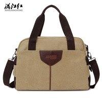 MANJIANGHONG High Quality Canvas Men Handbag Casual College Student Laptop Bag Travel Shoulder Bag Multi Function