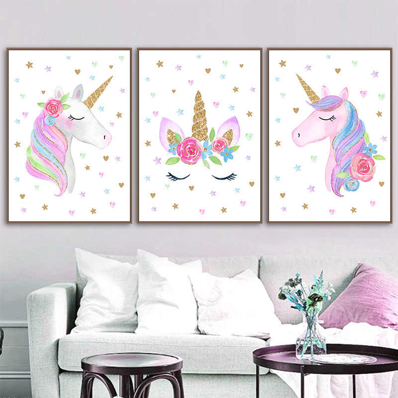 Modern Cartoon Pink Unicorn Poster Baby Room Nursery Prints Art Canvas Painting Wall Art Pictures Kids Living Room Decoration