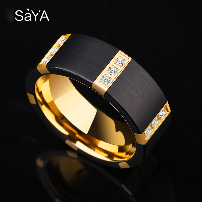 Nouveauté 8 MM largeur noir carbure de tungstène anneaux pour homme avec placage d'or à l'intérieur de la couleur noire trois PCS zircone cubique 7 11-in Anneaux from Bijoux et Accessoires    2
