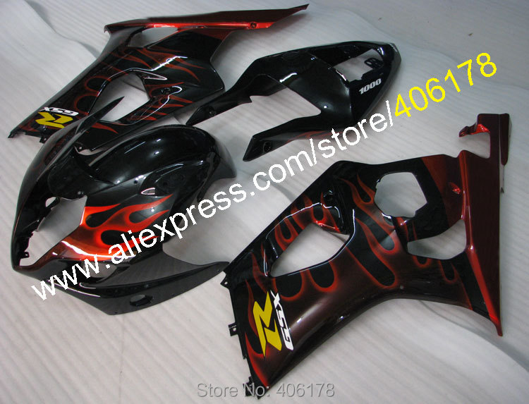 Hot Sales,For Suzuki GSXR1000 GSX R1000 K3 2003 2004 GSXR 1000 R1000 Red Flames Sports M ...