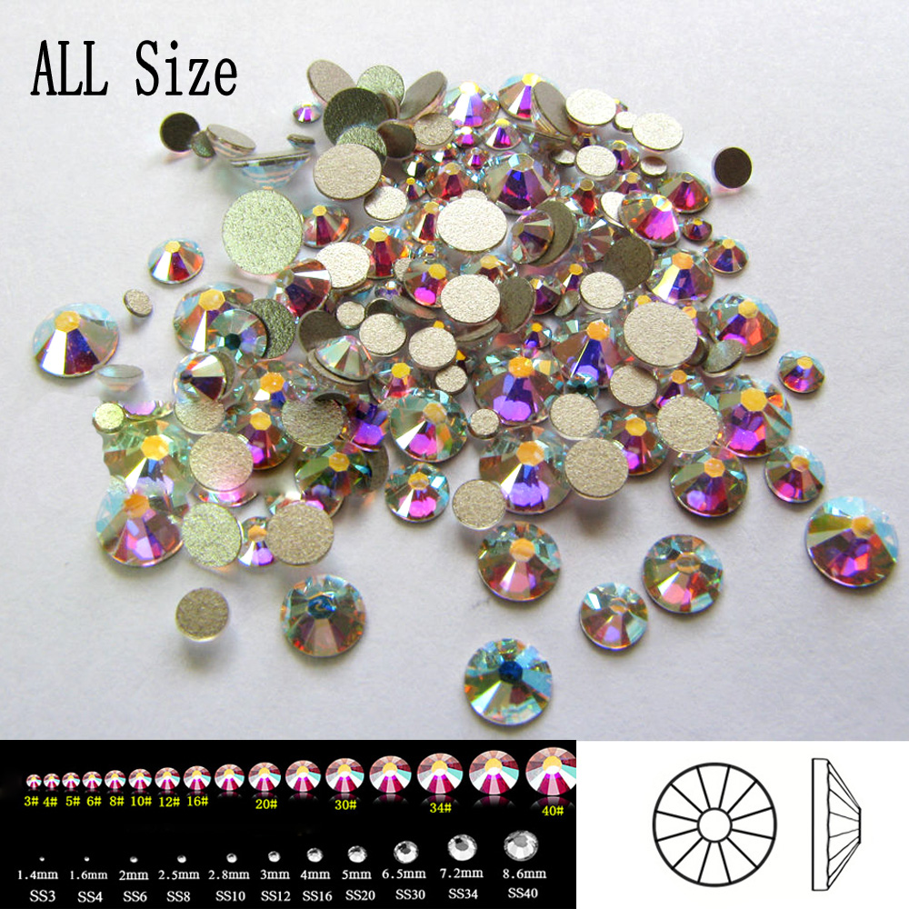 Top Quality 2058NoHF SS3-SS50 All Sizes 3D Nail Art