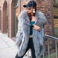 2018 новые модные зимние Для женщин горячий серебряный пуховик Куртка с капюшоном с длинным рукавом теплый тонкий натуральный шерстяной мех