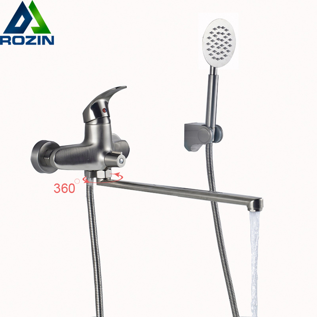 Brushed Nickel Bathtub Faucet Long Nose Water Outlet Pipe Shower Mixers  Single Handle Control With Handshower