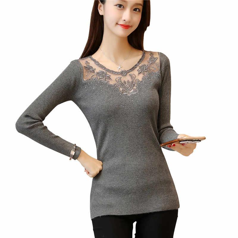 6466 настоящая тонкая кружевная вышитая рубашка с воротником свитер 42