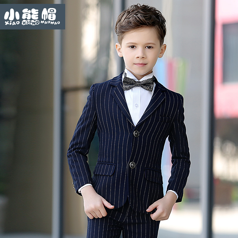 brand child boy clothing england style striped deep blue kids boy wedding suits formal child boy tuxedo toddler boy dress suits