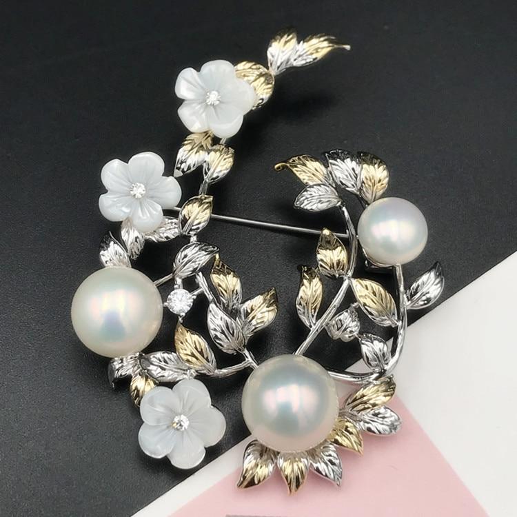 Vintage Flower Design Pearl Breastpin Accessory Women DIY Pearl Brooch Base Jewelry Findings 3Pieces Lot