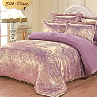 SILK PLACE Luxury Silk Bedding Set Embroidery Bed Linens Satin Duvet Cover Jacquard Bedclothes Bed Cover Purple Pillowcase Sheet