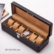 Yao 6 Slots Carbon Fibre Horloge Organisator Lederen Horloge Dozen Case Zwart Display Sieraden Gift Case Met Slot