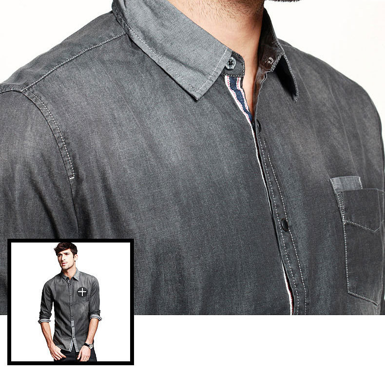 2a42b8c5801 Real vintage snug denim shirt men fashion imported clothing jeans shirt men  elegant grey water washed cowboy shirt-in Dress Shirts from Men s Clothing  on ...