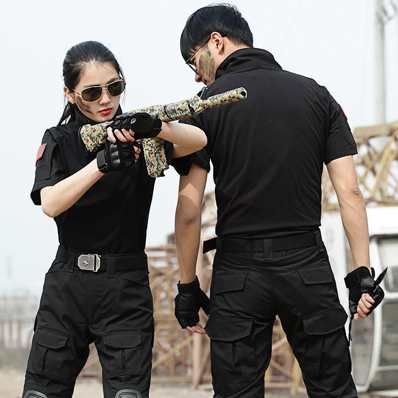 Noir à manches courtes chemise été respirant pantalon avec genouillères costume de chasse armée tactique formation costume militaire Combat uniforme - 2