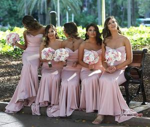 Image 4 - Pink Bridesmaid Dresses Mermaid Dress for Wedding Party Simple robe demoiselle dhonneur Long Bridesmaid Dress